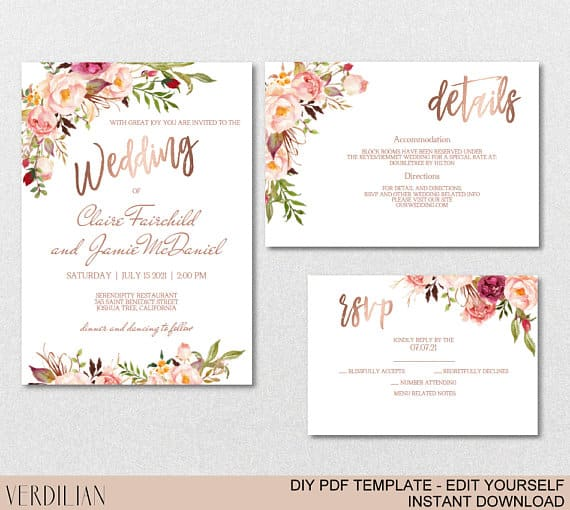 Rose Gold Wedding Invitation Template Set by VERDILIAN