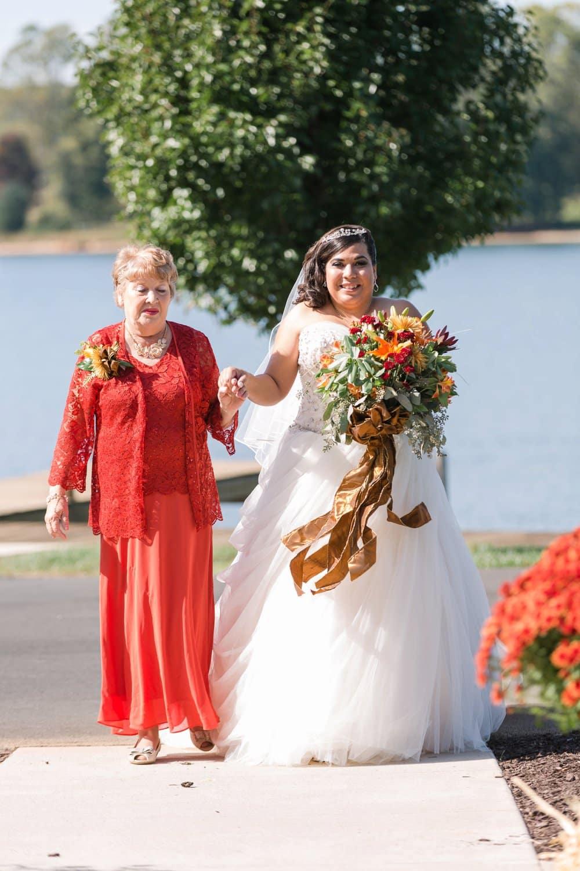 bride walk down aisle, ceremony, lake anna wedding