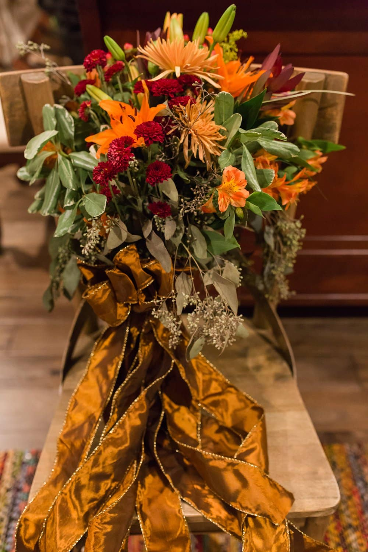 wedding flowers, red and orange wedding