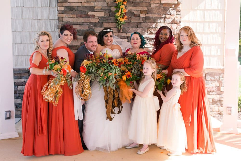 bridesmaids and flower girls, orange wedding