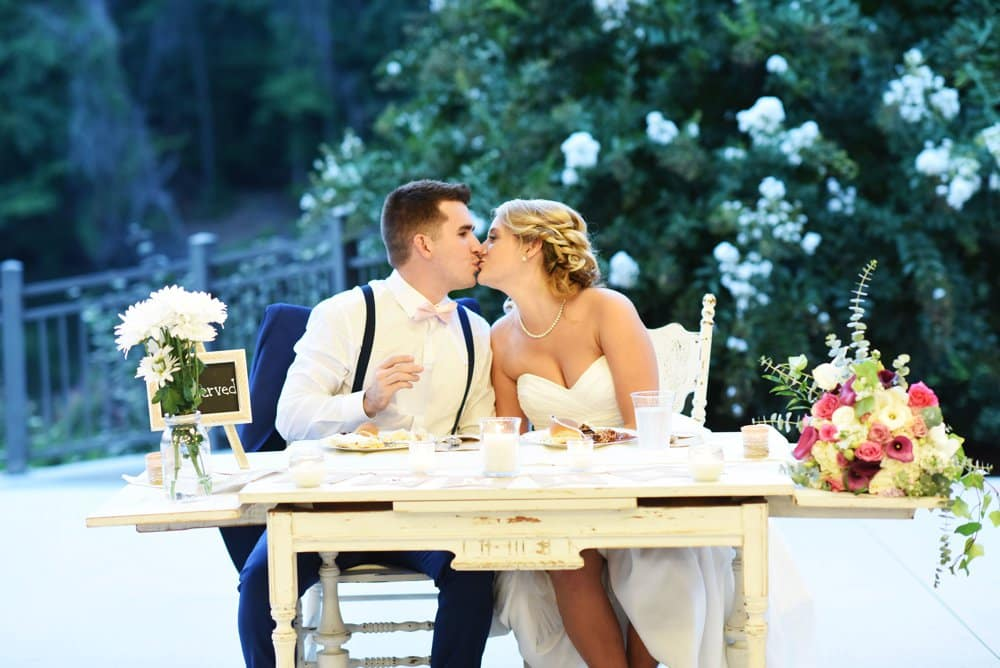 bride and groom table,