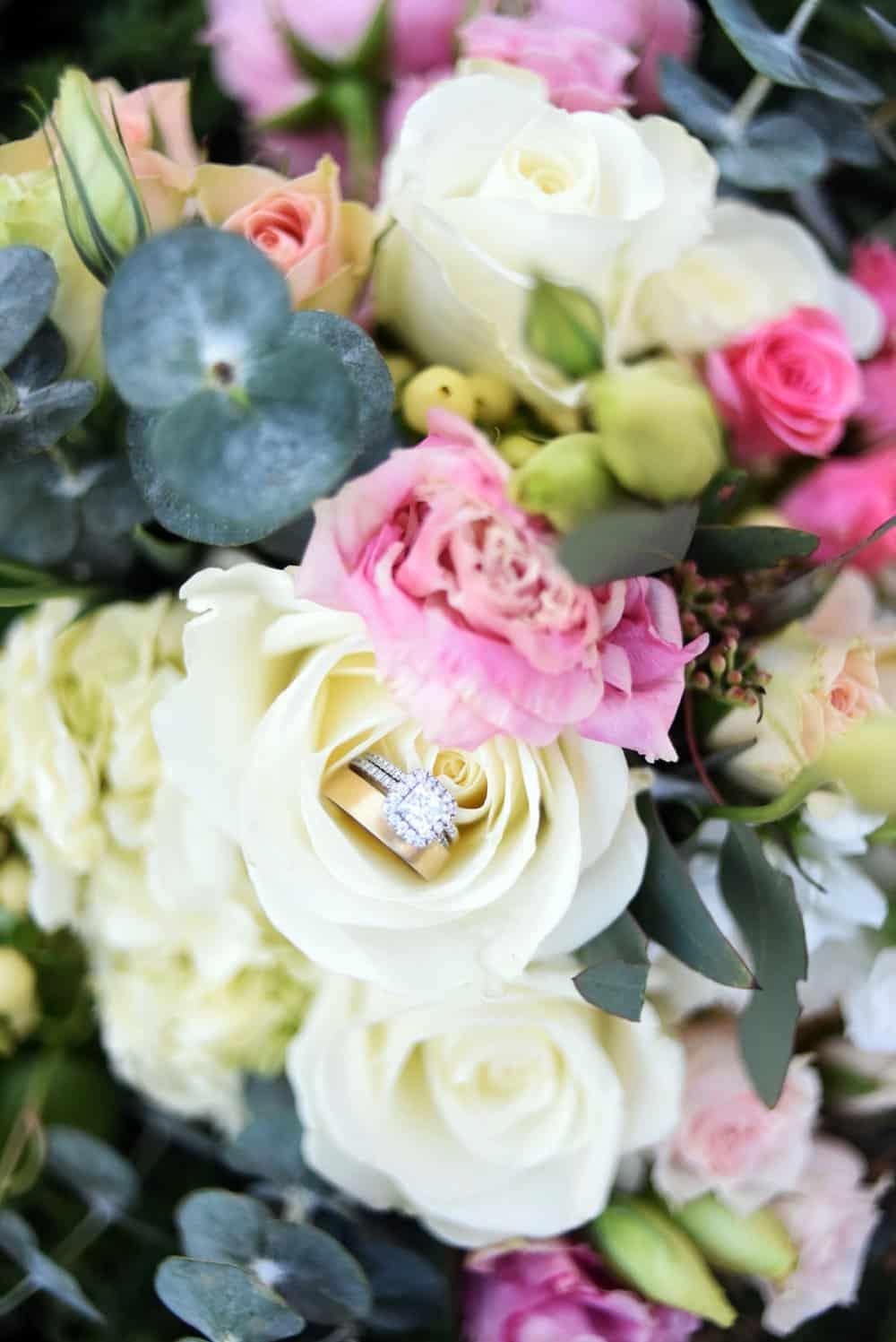 colorful pastel bouquet, ring shot