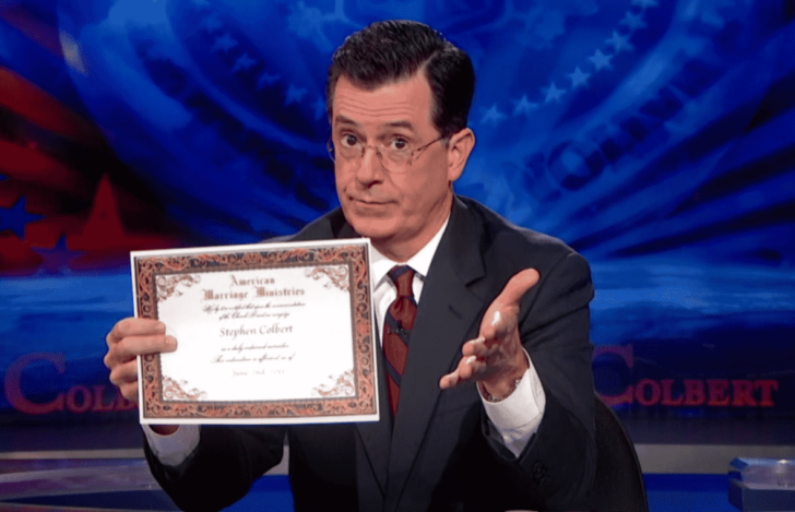 have a friend officiate your wedding – even Stephen Colbert is ordained!