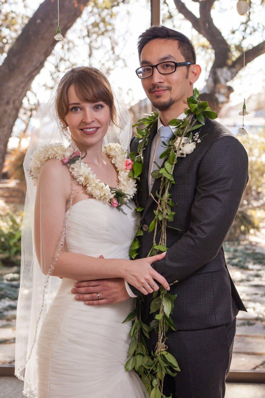 leis, wedding pictures, Hawaiian fusion wedding