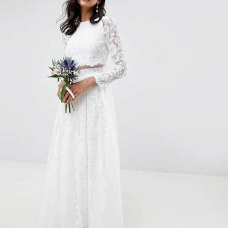 Long Sleeve Crop Top Maxi Wedding Dress