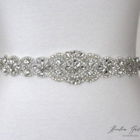 Bridal Sash with Rhinestones and Crystal