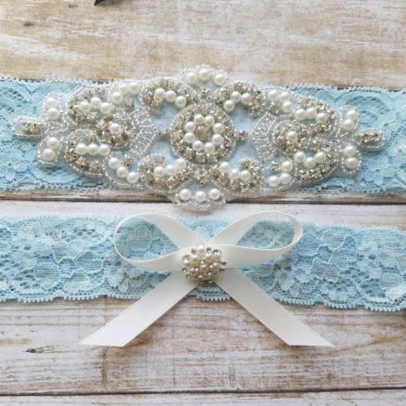 Lace Garter Set with Rhinestones and Pearls