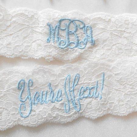 Monogrammed Lace Wedding Garter Set