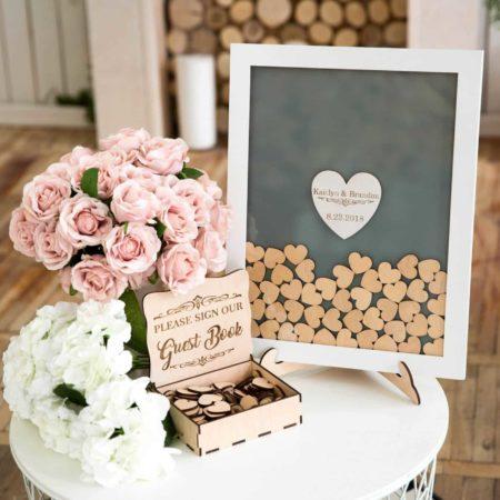 Hearts Drop Box Wedding Guest Book