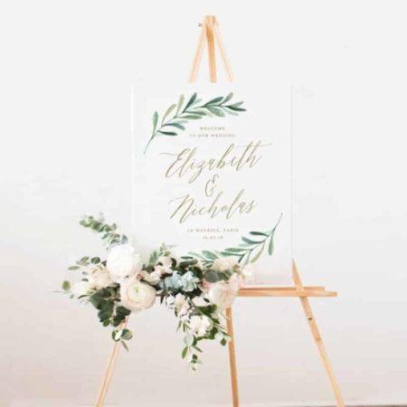 Greenery Wedding Welcome Sign Template