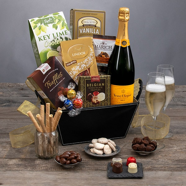 gourmet gift baskets - champagne and truffles