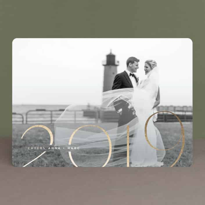 chic newlywed new year cards