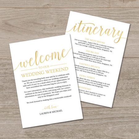 Wedding Welcome Letter + Itinerary