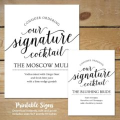 Signature Cocktail Printable Sign by MyCrayonsDesign on Etsy