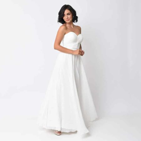 Off White Chiffon Strapless Sweetheart Corset Long Gown