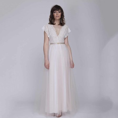 Tulle wedding dress with lace top - Barzelai