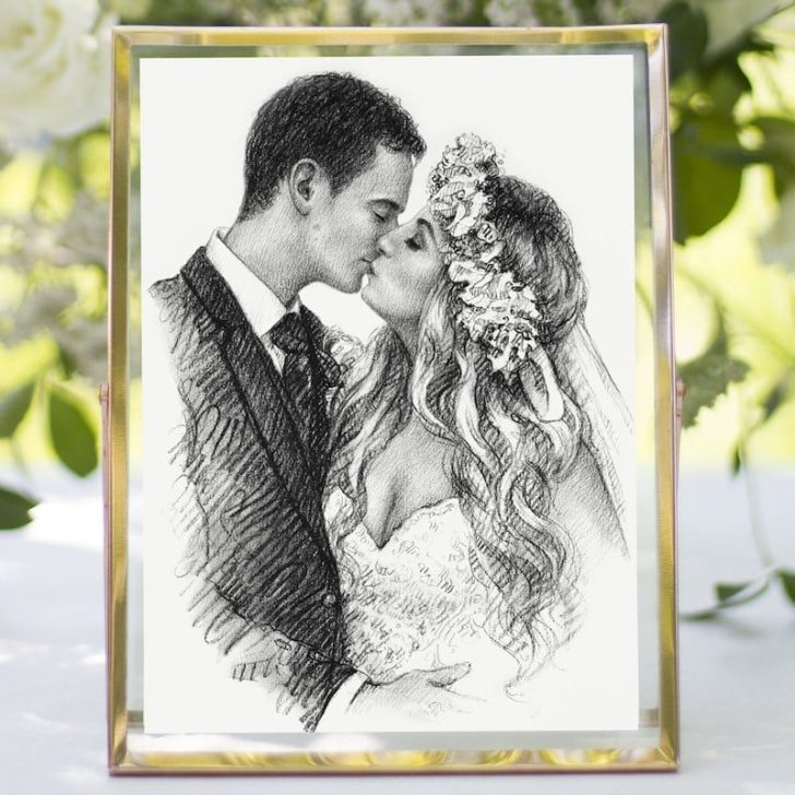 OliFineArt - charcoal wedding portrait - first wedding anniversary gift