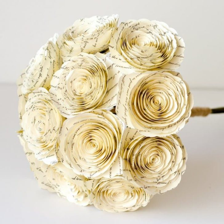 AnthologyonMain - Paper Rose Bouquet made from wedding vows or wedding sheet music - great first anniversary gift idea