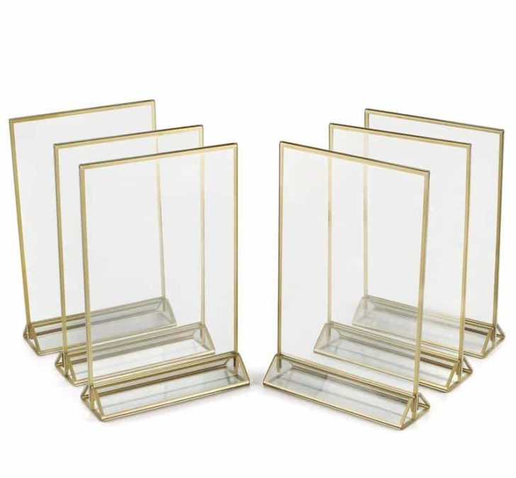 amazon wedding decor - acrylic and gold table number frames