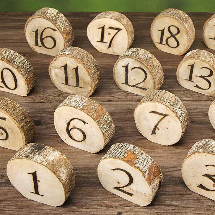 amazon wedding decor - wood slice table numbers david tutera