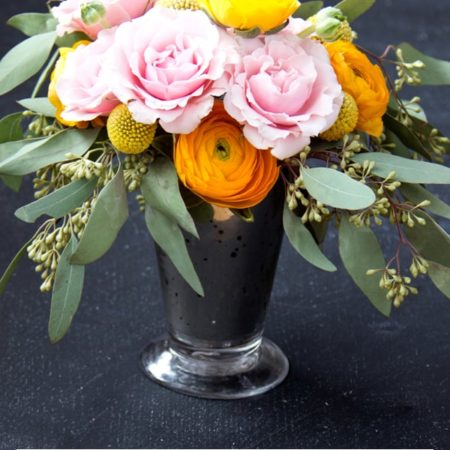 Blooms on a Budget from Somewhere Splendid. Spray roses, ranunculus, craspedia, seeded eucalyptus. Sponsored by Blooms by the Box.