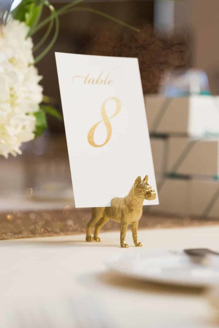 gold dog place card holders for weddings