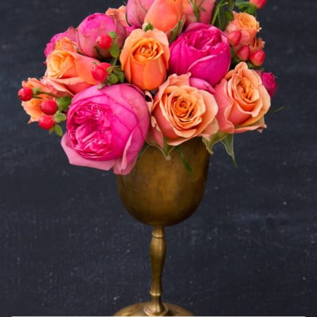 Blooms on a Budget: DIY Wedding Flowers : Hot Pink and Coral Roses with Hypericum Berries