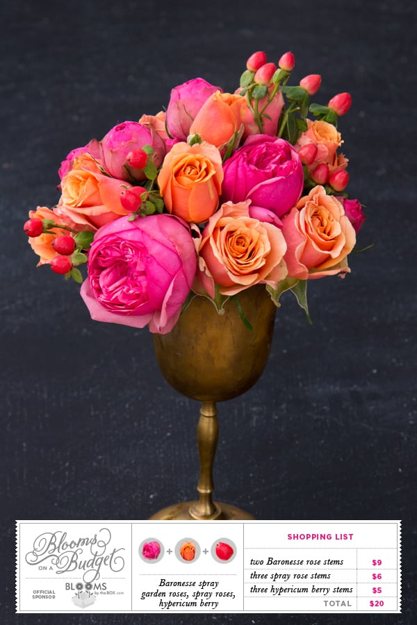 Blooms on a Budget: DIY Wedding Flowers : Hot Pink and Coral Roses withHypericum Berries