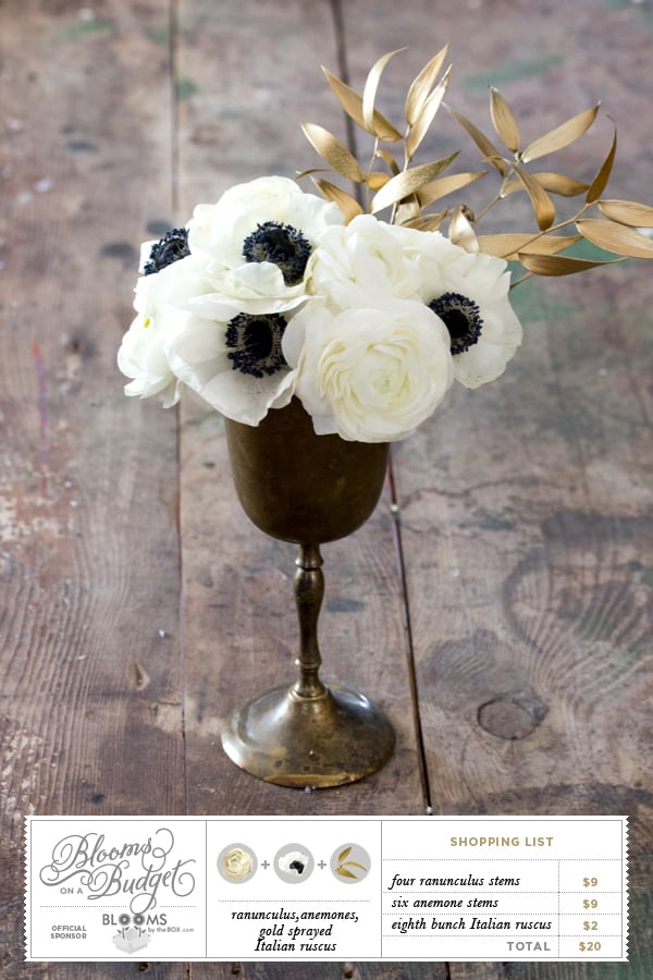 Blooms on a Budget #10 from Somewhere Splendid via the Budget Savvy Bride. Ranunculus, anemones, and gold painted Italian ruscus.