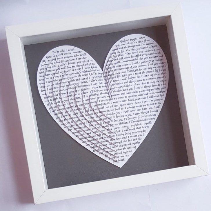 OliHarriCreations - Wedding Vow Paper Heart Art- wedding anniversary gift ideas