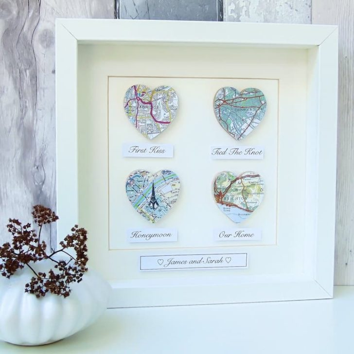 LittleBirdDesignsLtd Maps from the key moments in your relationship - anniversary gift ideas