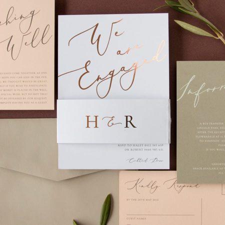 Rose Et Gris Wedding Invitation