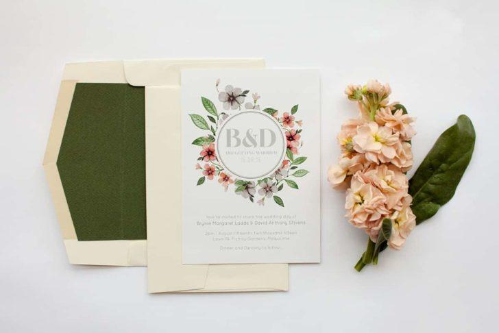 floral circle invitation set - paperlust wedding invitations