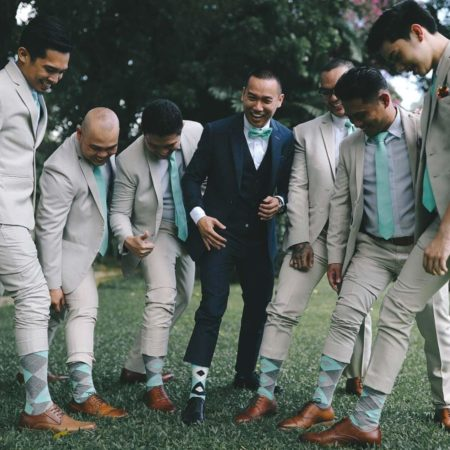 Mint Gray Argyle Wedding Groomsmen Men's Dress Socks with Matching Necktie