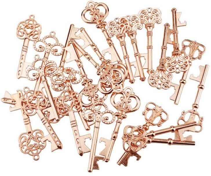 amazon wedding decor - rose gold key favors