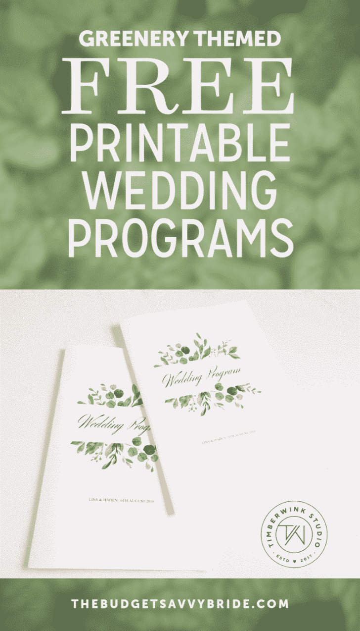 greenery wedding programs from Timberwink Studio