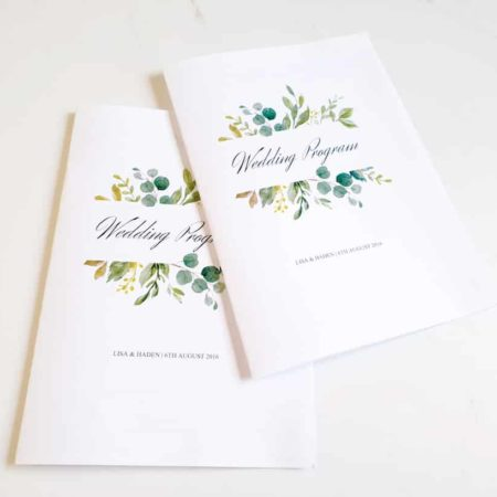 printable wedding programs with a greenery theme