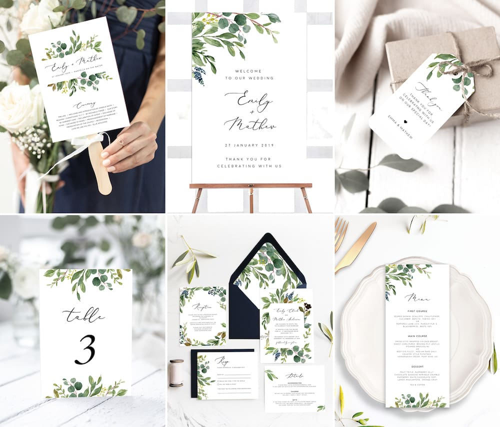 greenery wedding printables
