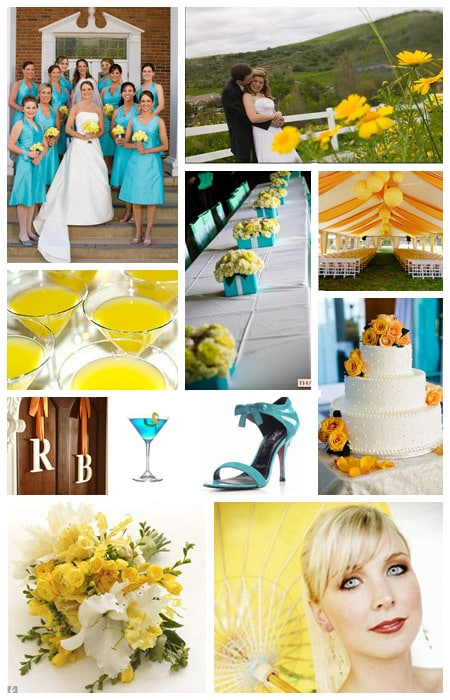 wedding color scheme: turquoise, aqua, yellow, orange