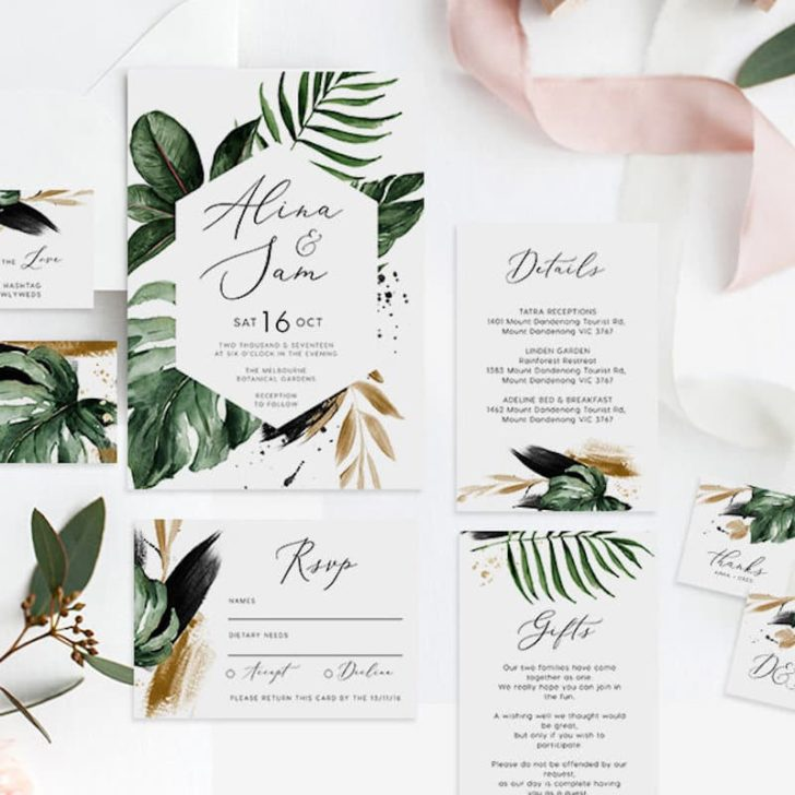 fabledweddings tropical watercolor invitations