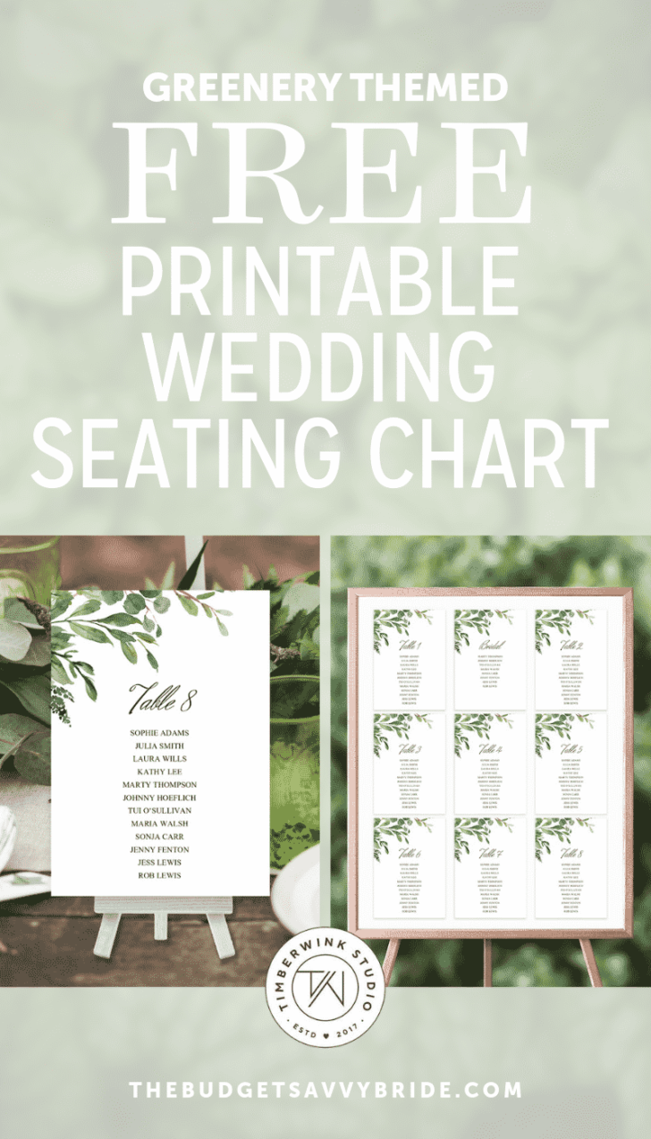 greenery wedding seating chart from Timberwink Studio