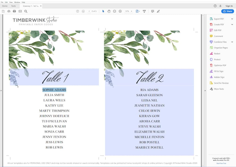 Customize your free wedding printables with Adobe Reader