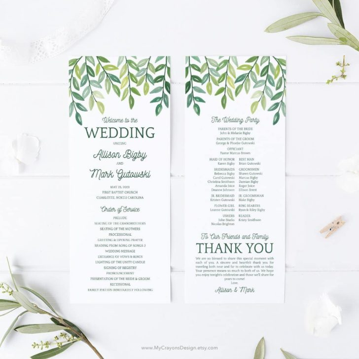 mycrayons greenery wedding programs