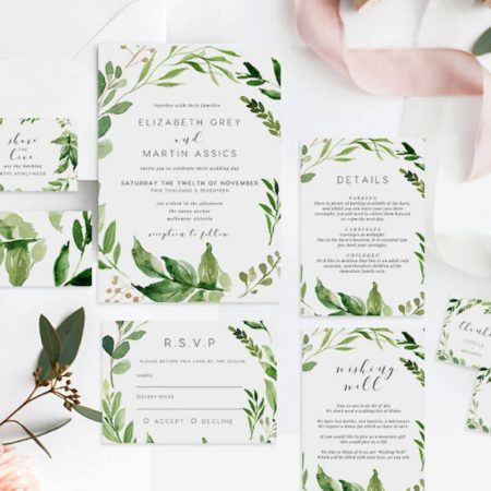Green Leaves Printable Wedding Invitation Set
