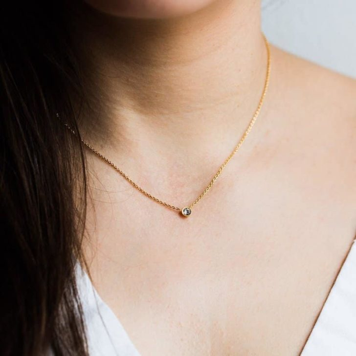 local eclectic solitaire necklace | Delicate Jewelry | Dainty Jewelry | Minimalist Wedding Jewelry