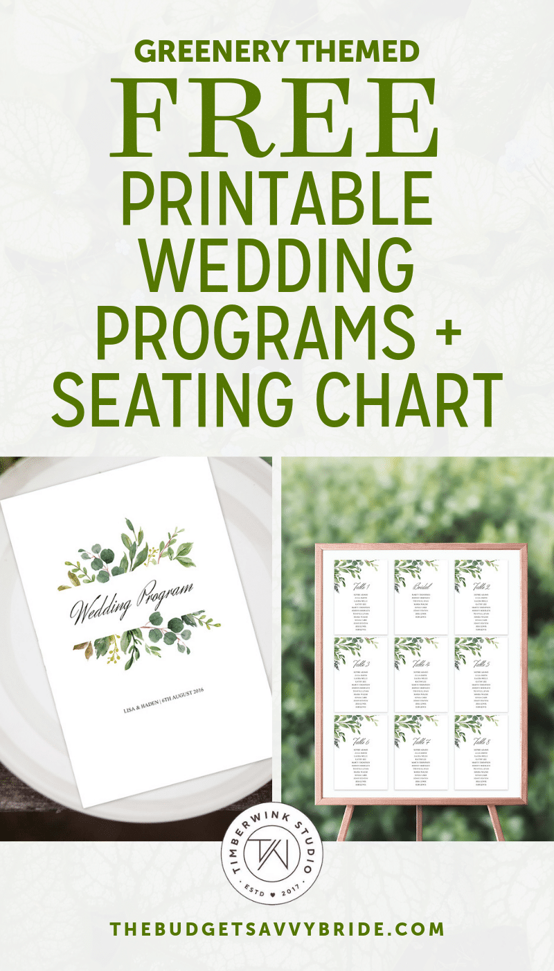 greenery themed wedding printables from Timberwink Studio