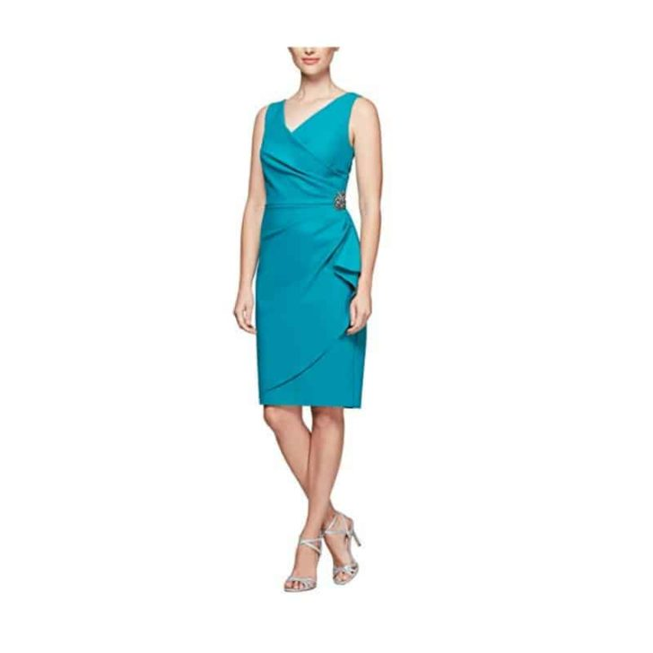 Short Ruched Dress with Ruffle Skirt by Alex Evenings