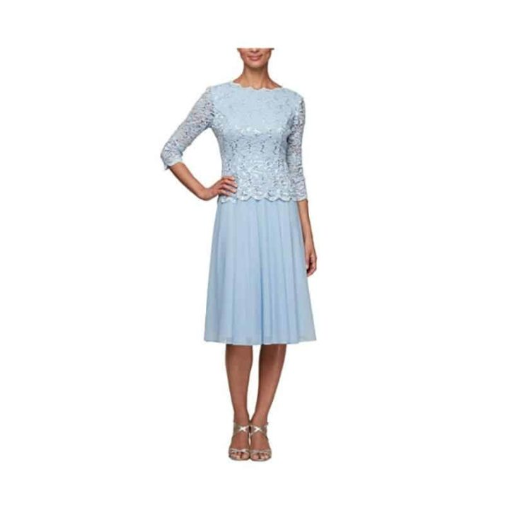 Tea Length Sequin Lace Mock Dress by Alex Evenings