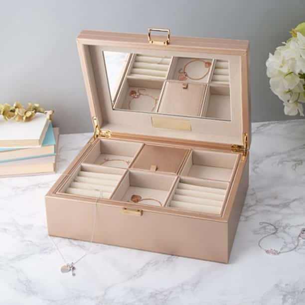 quilted rose gold jewelry box