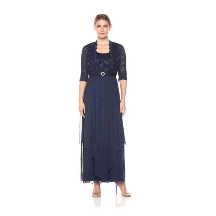 Lace Georgette Jacket Dress Set by R&M